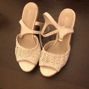 White heels, white wedges, wedges